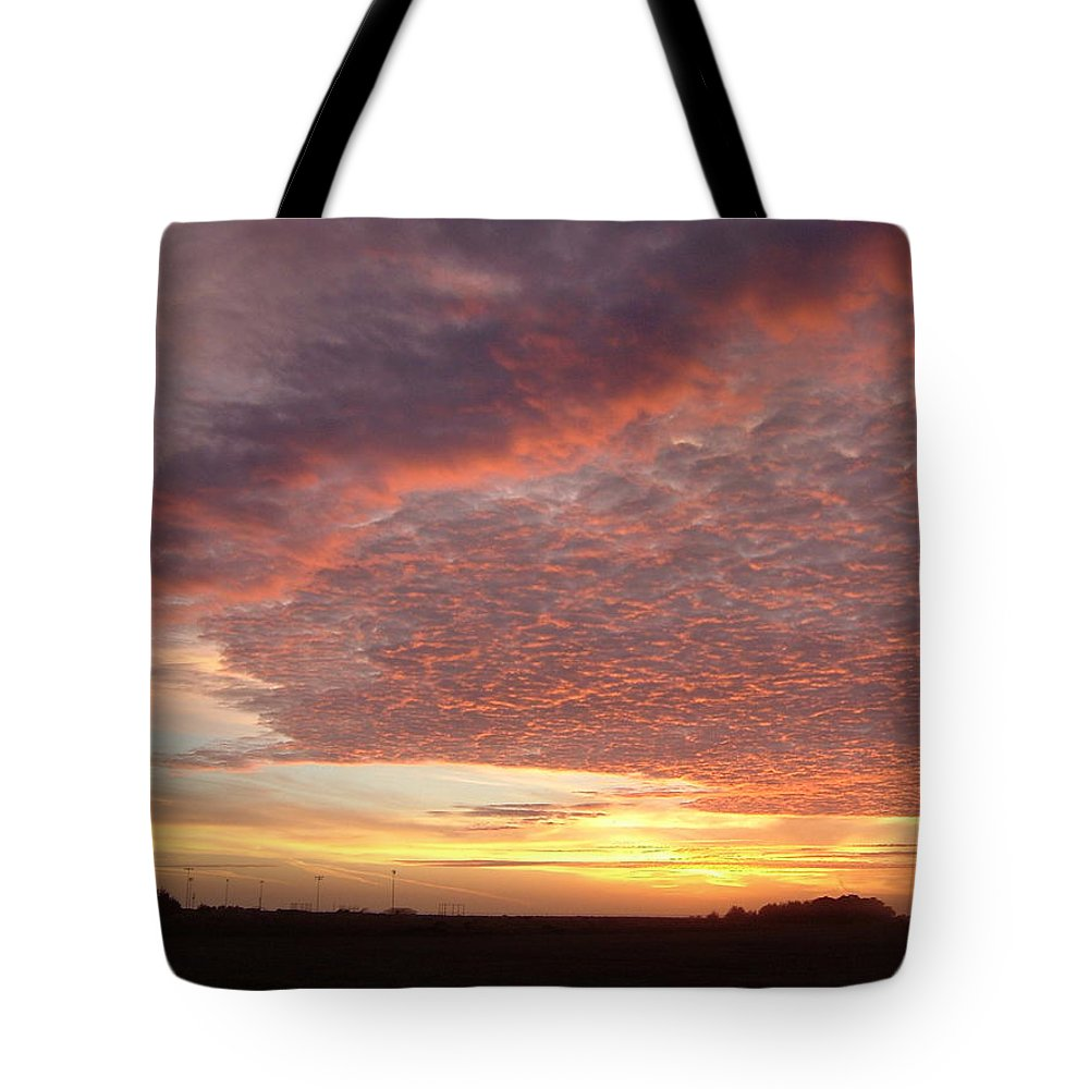 Sky Tote Bag featuring the photograph Lacy Pink Sunset by Susan Wyman
