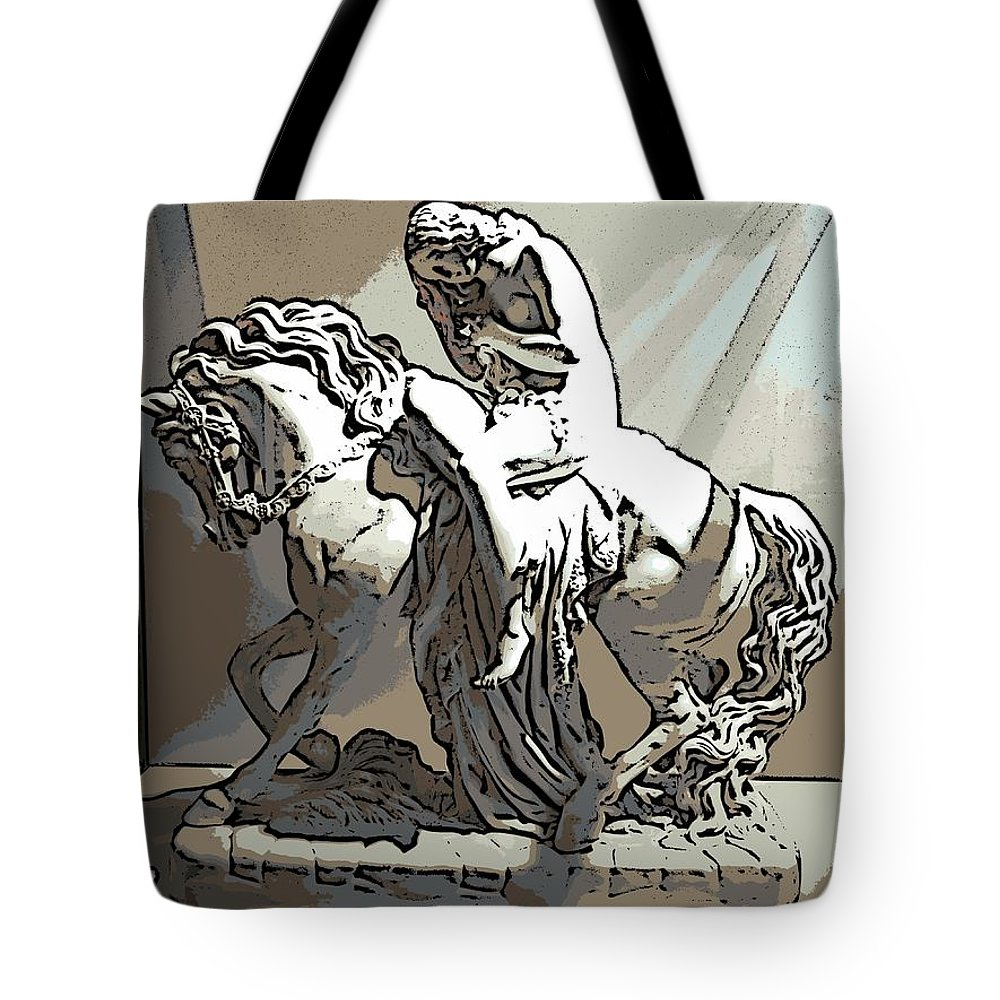 Lady Godiva Tote Bag featuring the photograph Lady Godiva Statue by George Pedro