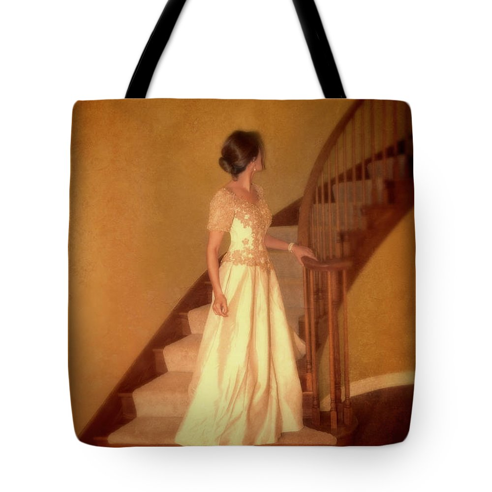 Beautiful Tote Bag featuring the photograph Lady In Lace Gown On Staircase by Jill Battaglia