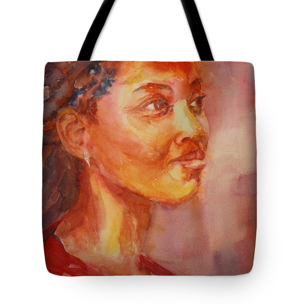 Portrait Tote Bag featuring the painting Lady In Red by Tara Moorman