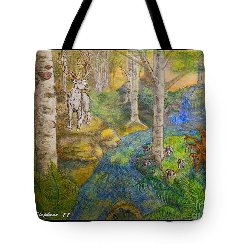 Stag Tote Bag featuring the drawing Lady Of The White Birch by Rebecca Stephens