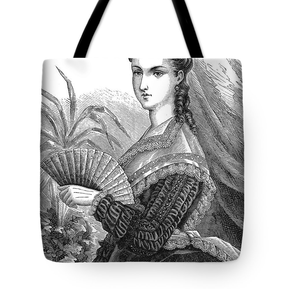 1878 Tote Bag featuring the photograph Lady With Fan, C1878 by Granger