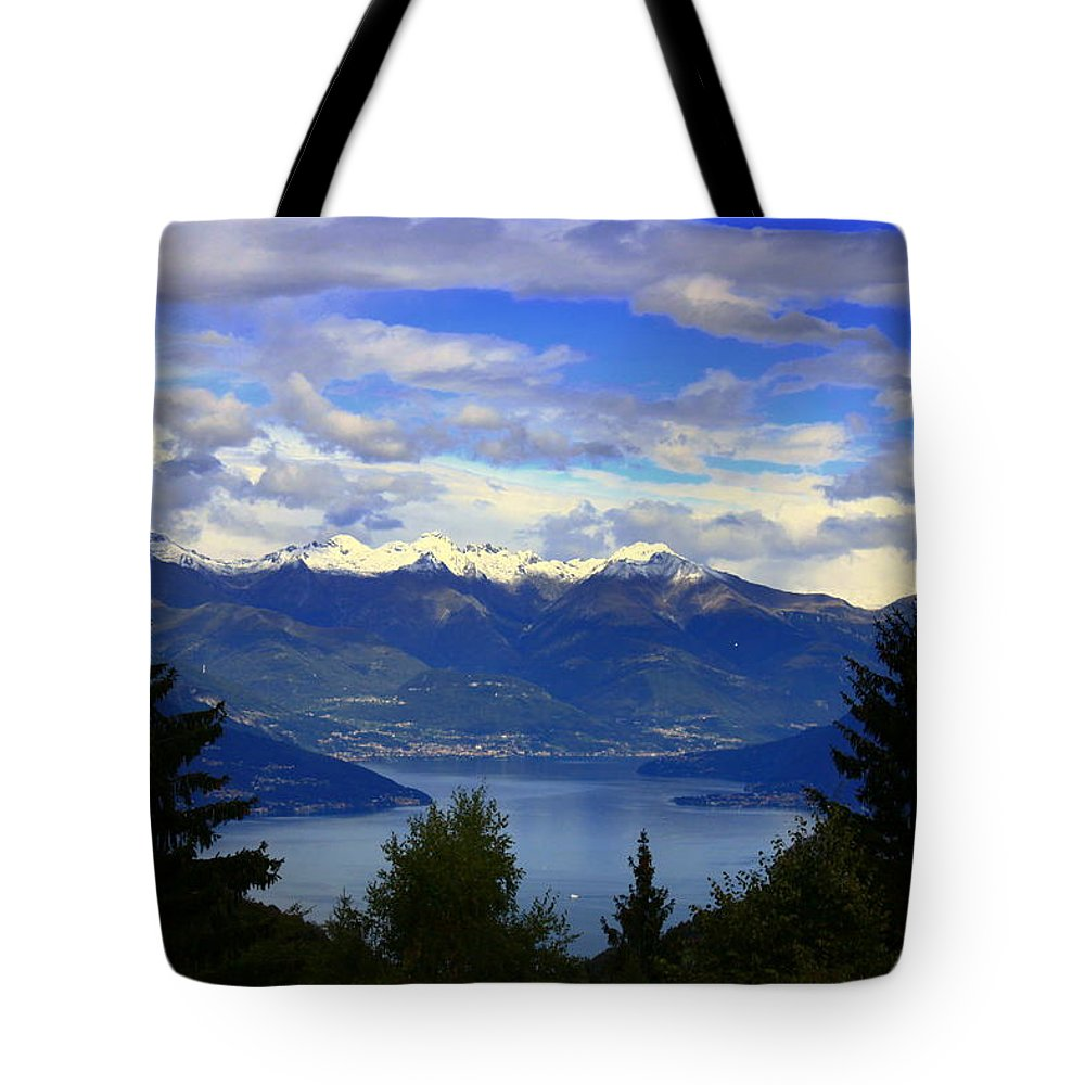 View Tote Bag featuring the photograph Lake Of Como View by Valentino Visentini