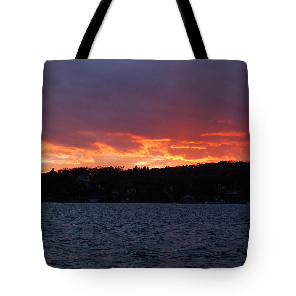Water Tote Bag featuring the photograph Lake Sunset by Richard Bryce and Family