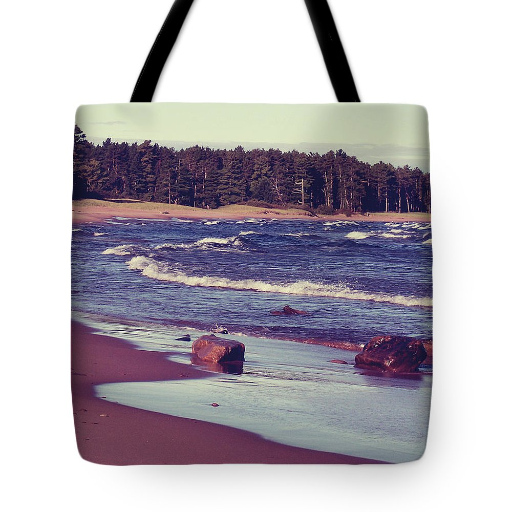 Photo Tote Bag featuring the photograph Lake Superior Beach Waves by Phil Perkins
