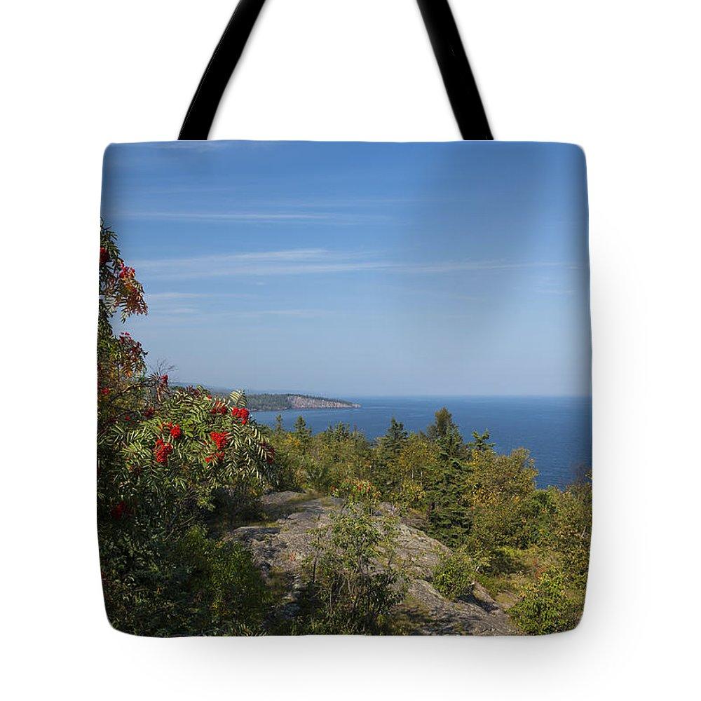Lake Tote Bag featuring the photograph Lake Superior Palisades 2 by John Brueske