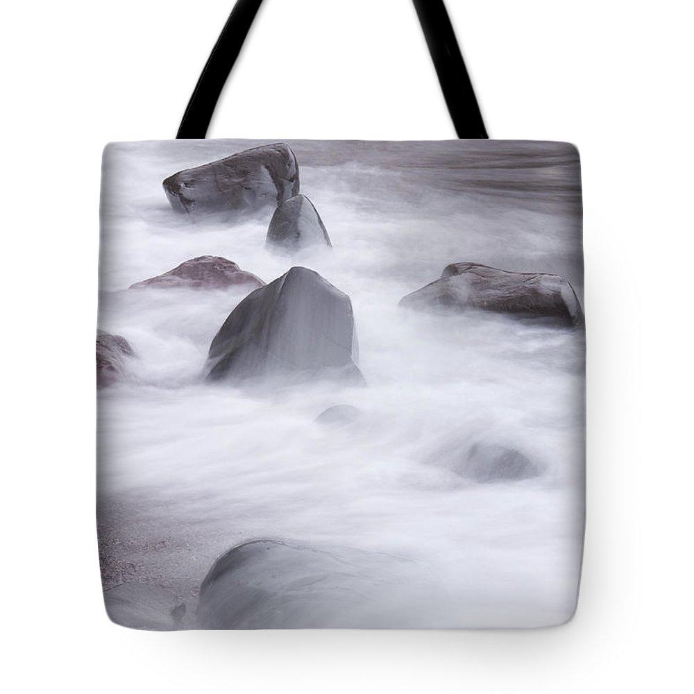 Lake Tote Bag featuring the photograph Lake Superior Rocks Waves 1 B by John Brueske
