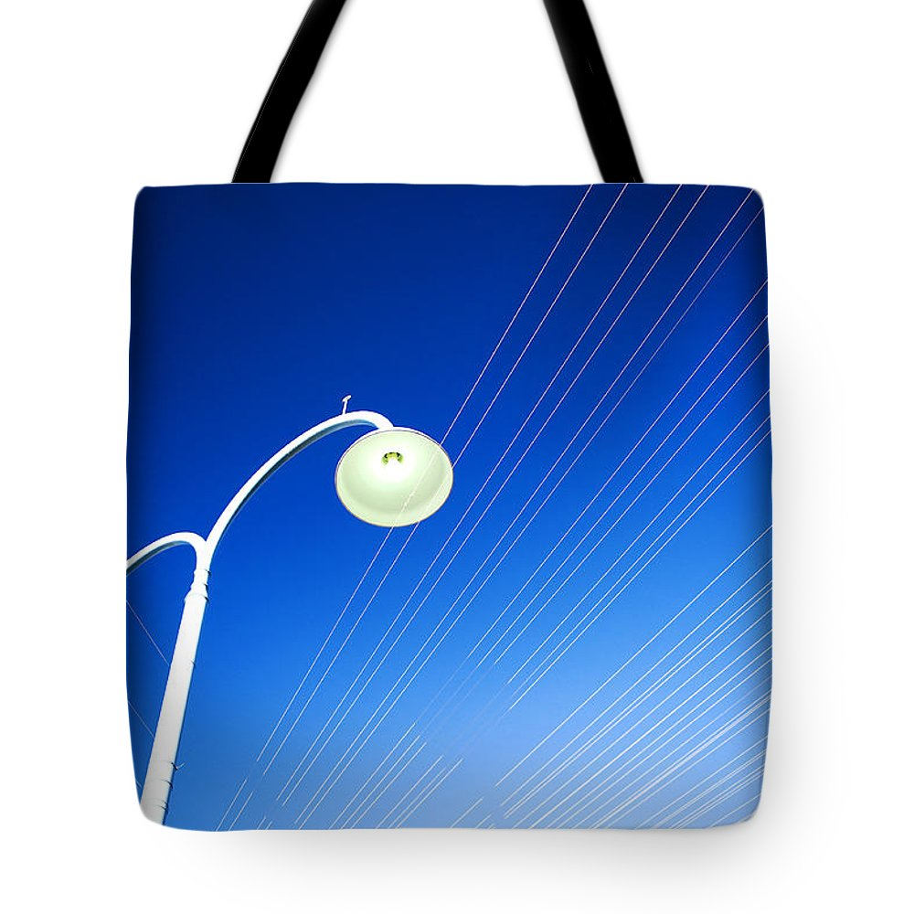 Australia Tote Bag featuring the photograph Lamp Post And Cables by Yew Kwang