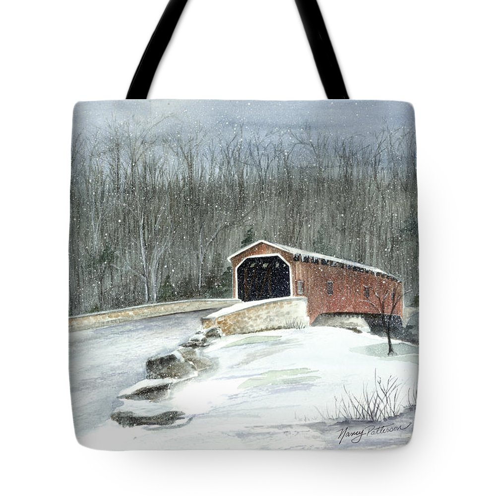 Covered Bridge Tote Bag featuring the painting Lancaster County Covered Bridge In The Snow by Nancy Patterson