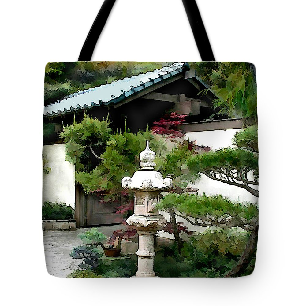 Japanese Garden Tote Bag featuring the painting Lantern Sentry At Garden Gate by Elaine Plesser