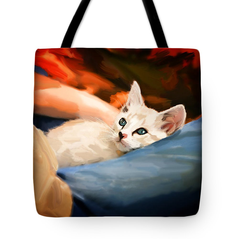 Cat Tote Bag featuring the painting Lap Kitty by Carolyn Schneider