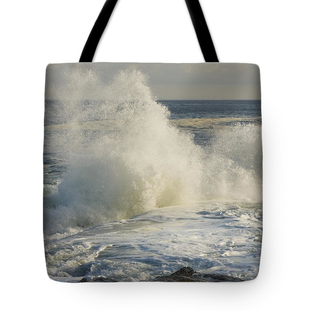 Maine Tote Bag featuring the photograph Large Waves On Rocky The Coast Maine by Keith Webber Jr