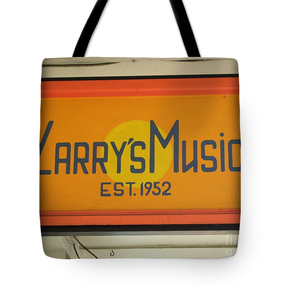 Mary Deal Tote Bag featuring the photograph Larrys Music Est 1952 by Mary Deal