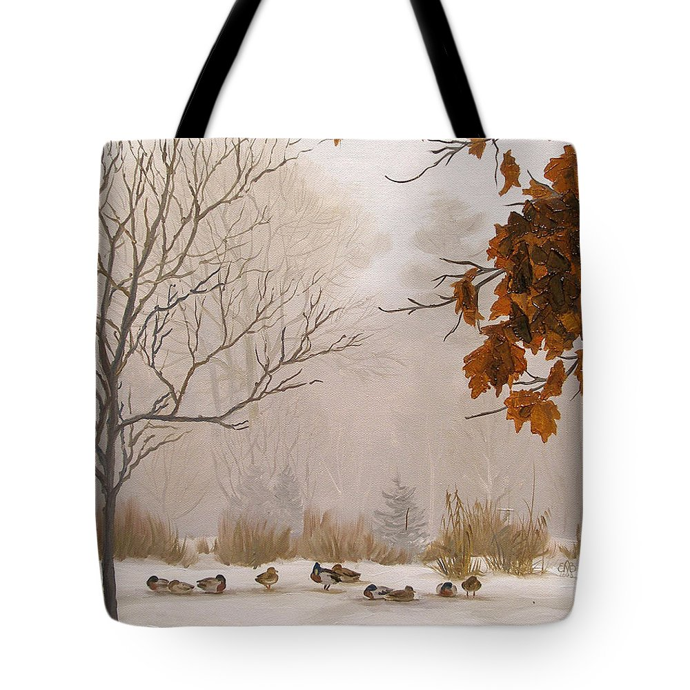 Winter Tote Bag featuring the painting Last Leaves by Olena Lopatina