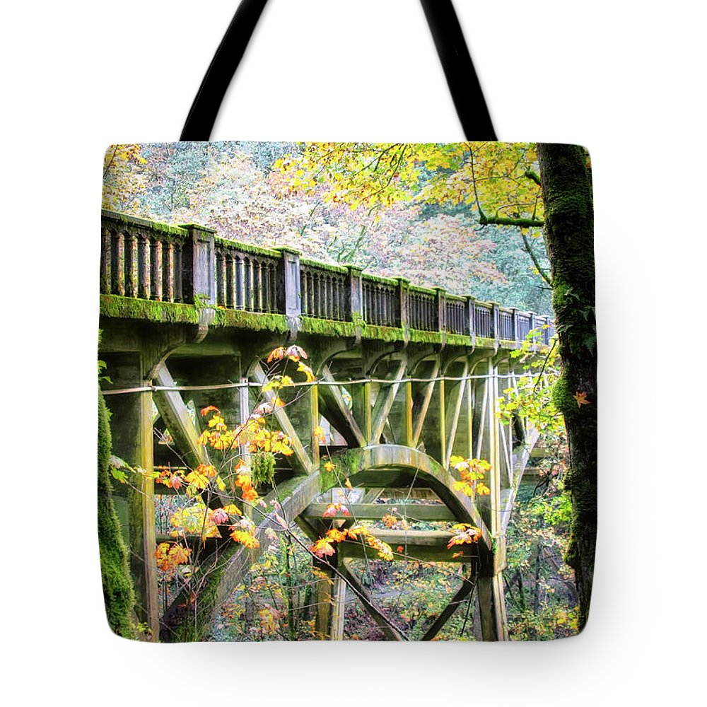 Autumn Color Tote Bag featuring the photograph Latourel Creek Bridge by Albert Seger