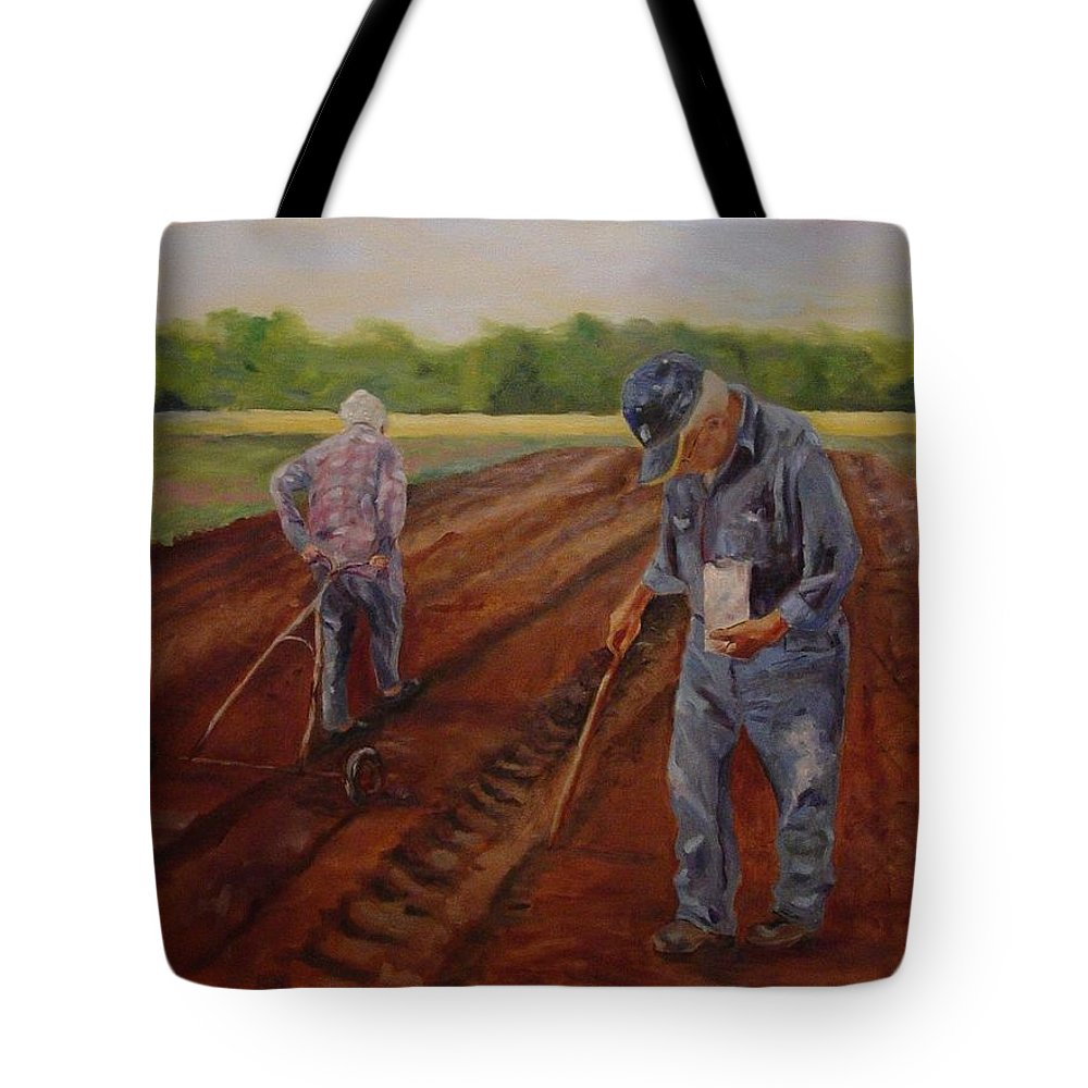Landscape Tote Bag featuring the painting Laying Off Rows by Carol Berning