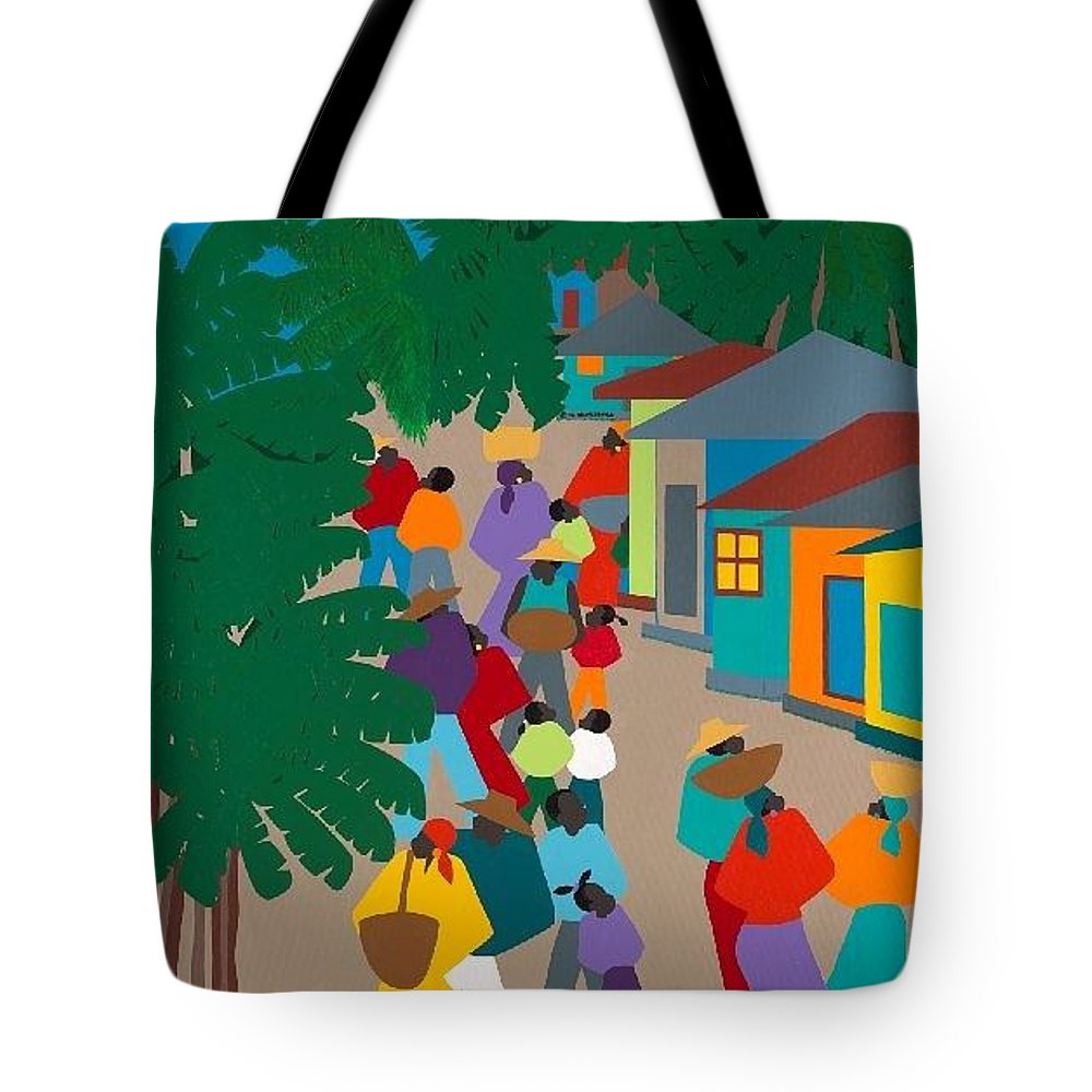 Haiti Tote Bag featuring the painting Le Village by Synthia SAINT JAMES