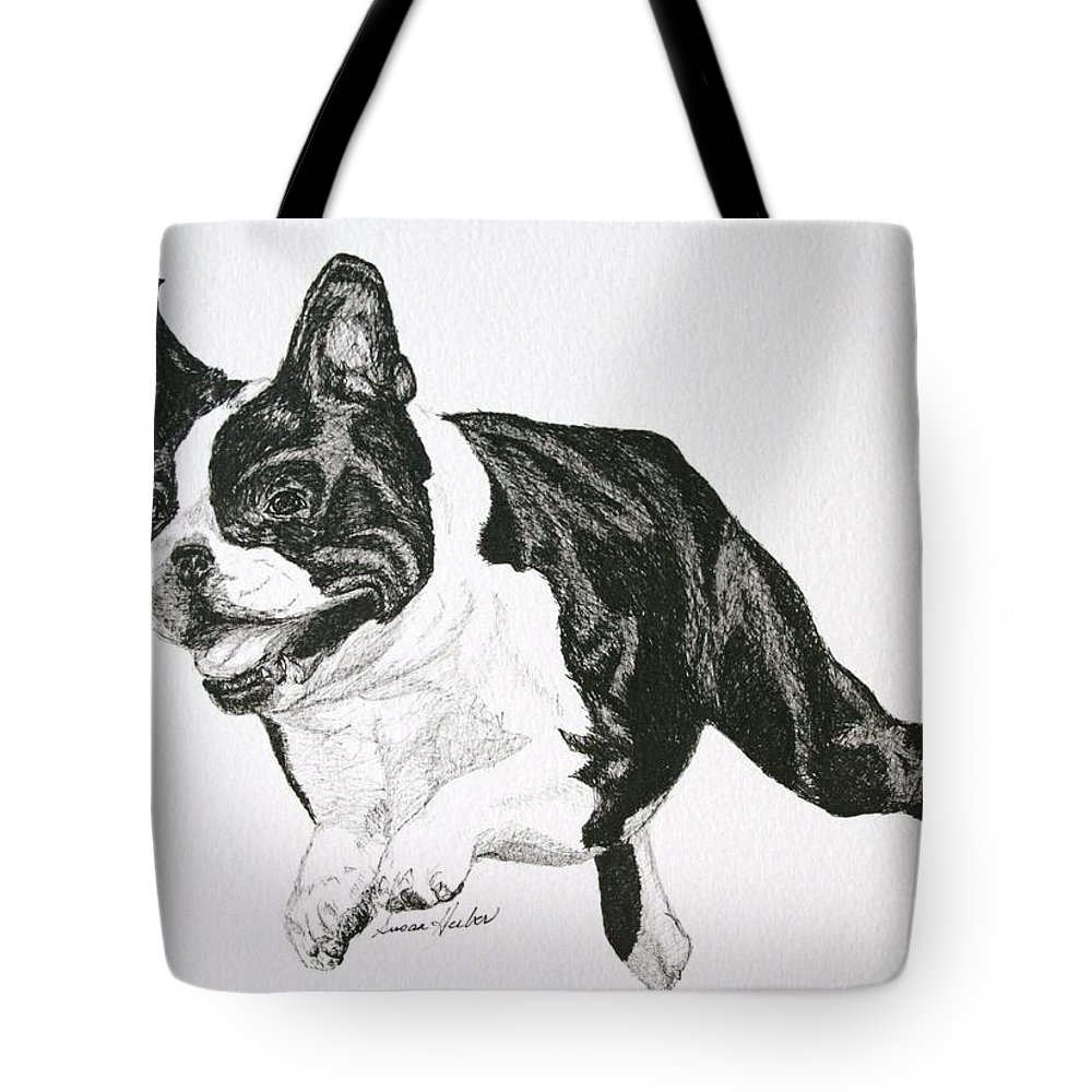 Boston Terrier Tote Bag featuring the drawing Leap by Susan Herber