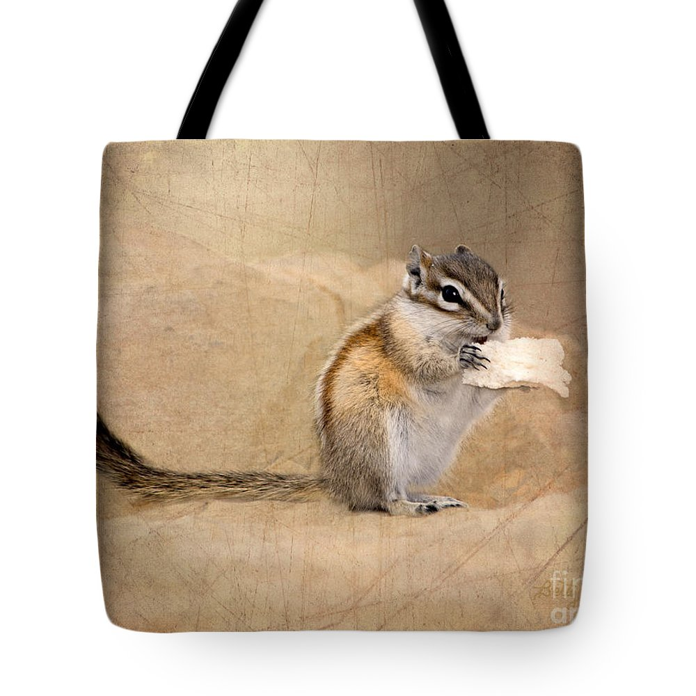 Chipmunk Tote Bag featuring the photograph Least Chipmunk by Betty LaRue