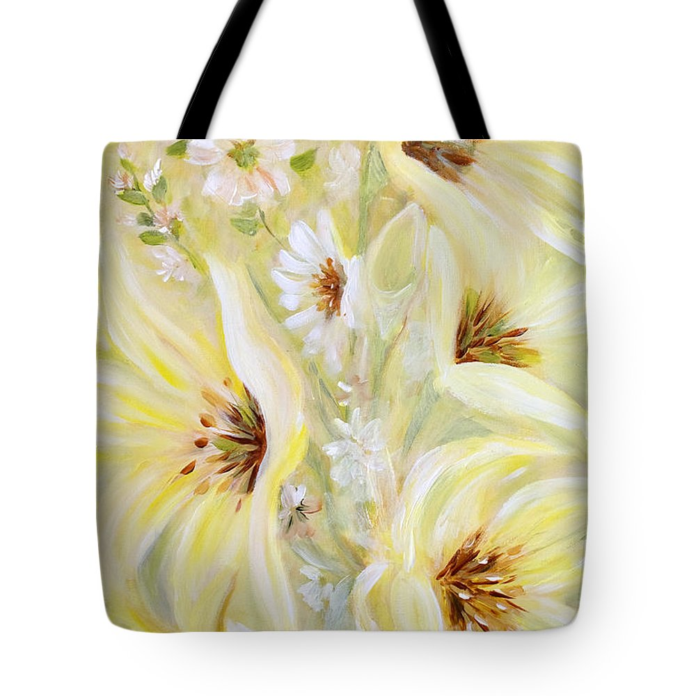 Lilies Tote Bag featuring the painting Lemon Chiffon by Joanne Smoley