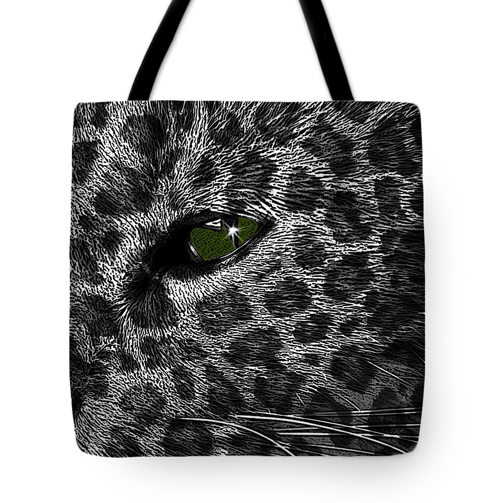 Black Tote Bag featuring the photograph Leopard Within by Teri Schuster