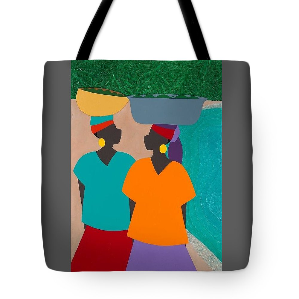 Haiti Tote Bag featuring the painting Les Femmes by Synthia SAINT JAMES