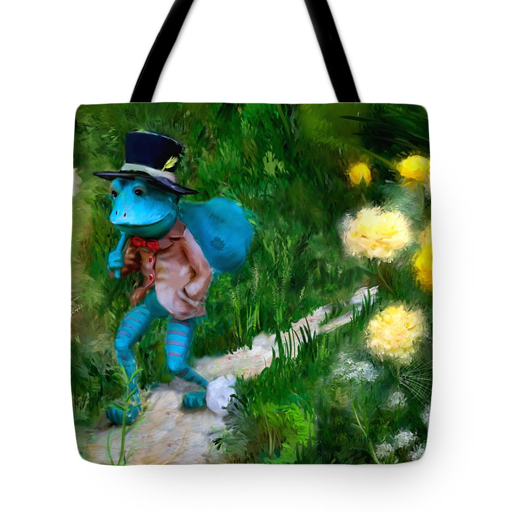 Frog Tote Bag featuring the digital art Lessons In Lifes Garden by Dwayne Glapion