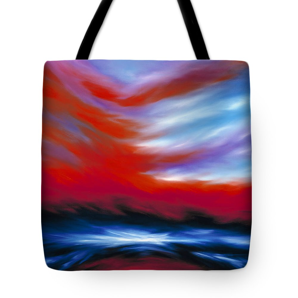 Sunrise; Sunset; Power; Glory; Cloudscape; Skyscape; Purple; Red; Blue; Stunning; Landscape; James C. Hill; James Christopher Hill; Jameshillgallery.com; Ocean; Lakes; Genesis; Creation; Sky Tote Bag featuring the painting Let There Be Light by James Christopher Hill