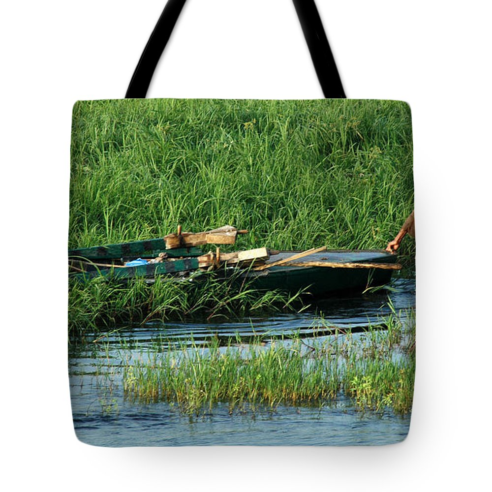 Egypt Tote Bag featuring the photograph Life Along The Nile by Vivian Christopher