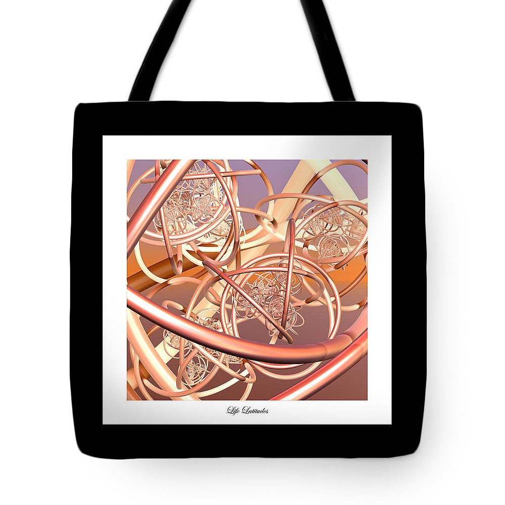 Fractal Tote Bag featuring the digital art Life Latitudes by Betsy Knapp