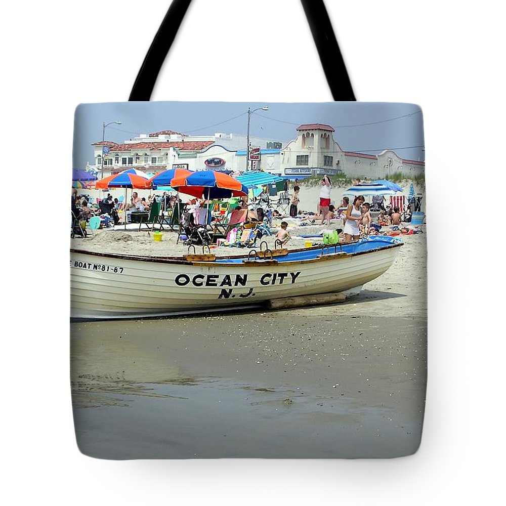 Nj Tote Bag featuring the photograph Lifeguard Boat At Ocean City Boardwalk New Jersey by Sven Migot