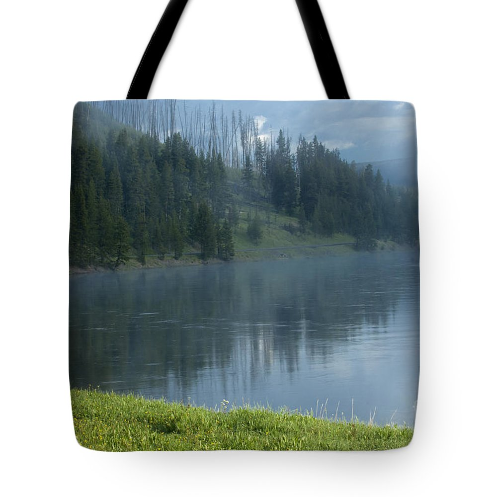 Bronstein Tote Bag featuring the photograph Lifting Fog On The Yellowstone by Sandra Bronstein