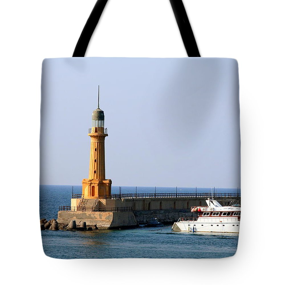 Corniche Tote Bag featuring the photograph Lighthouse Along The Corniche by Laurel Talabere