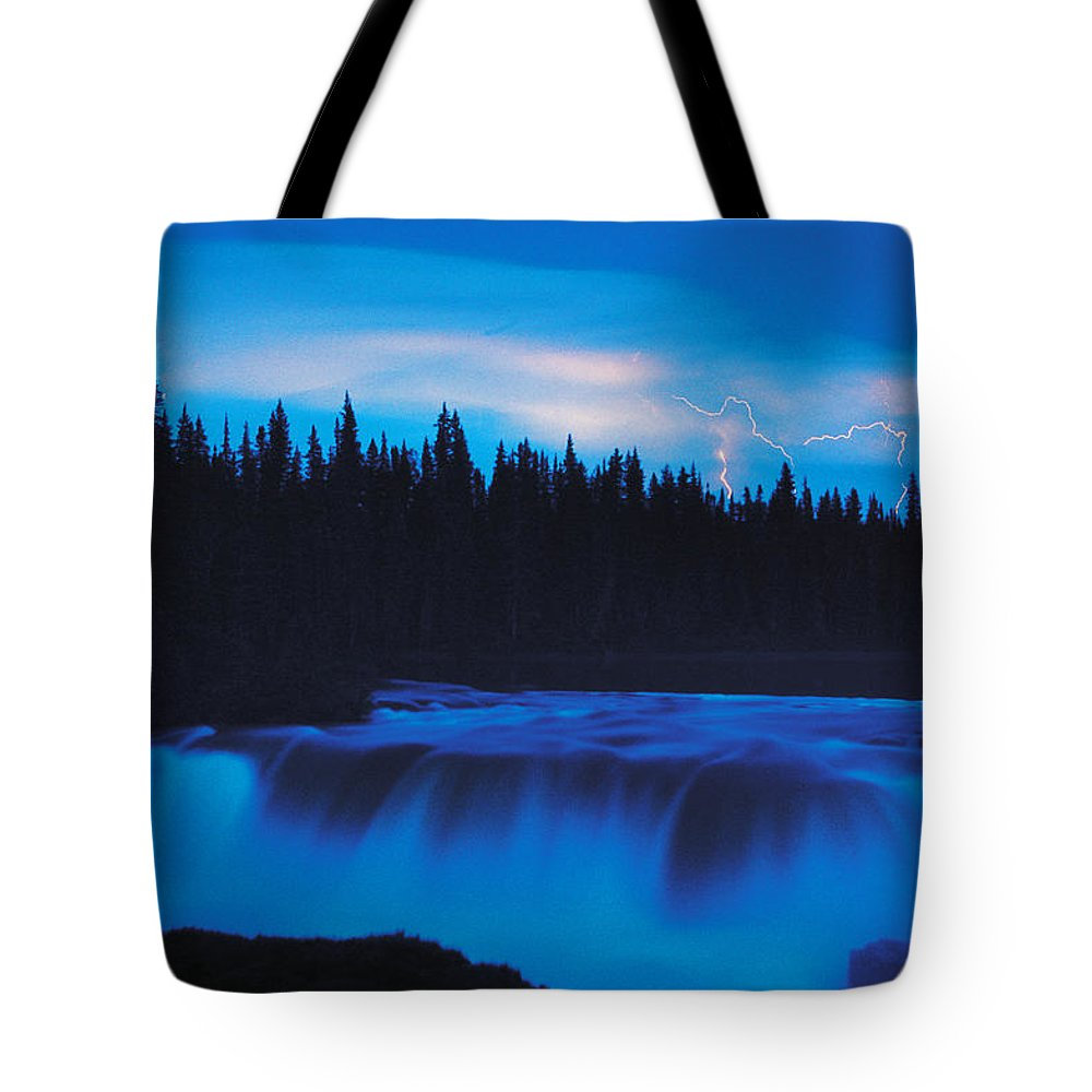 Colour Image Tote Bag featuring the photograph Lightning Over Pisew Falls, Manitoba by Dave Reede