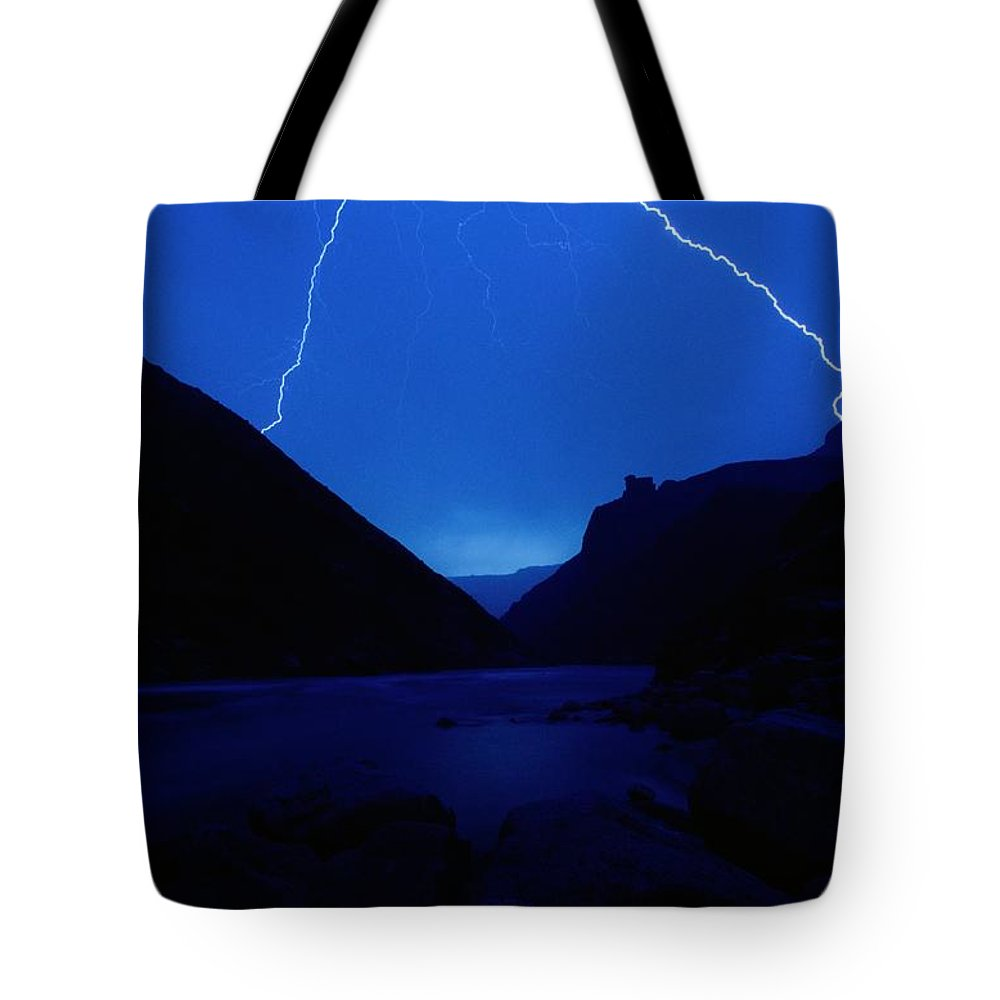 Grand Canyon National Park Tote Bag featuring the photograph Lightning Strike, Grand Canyon by Steve Winter