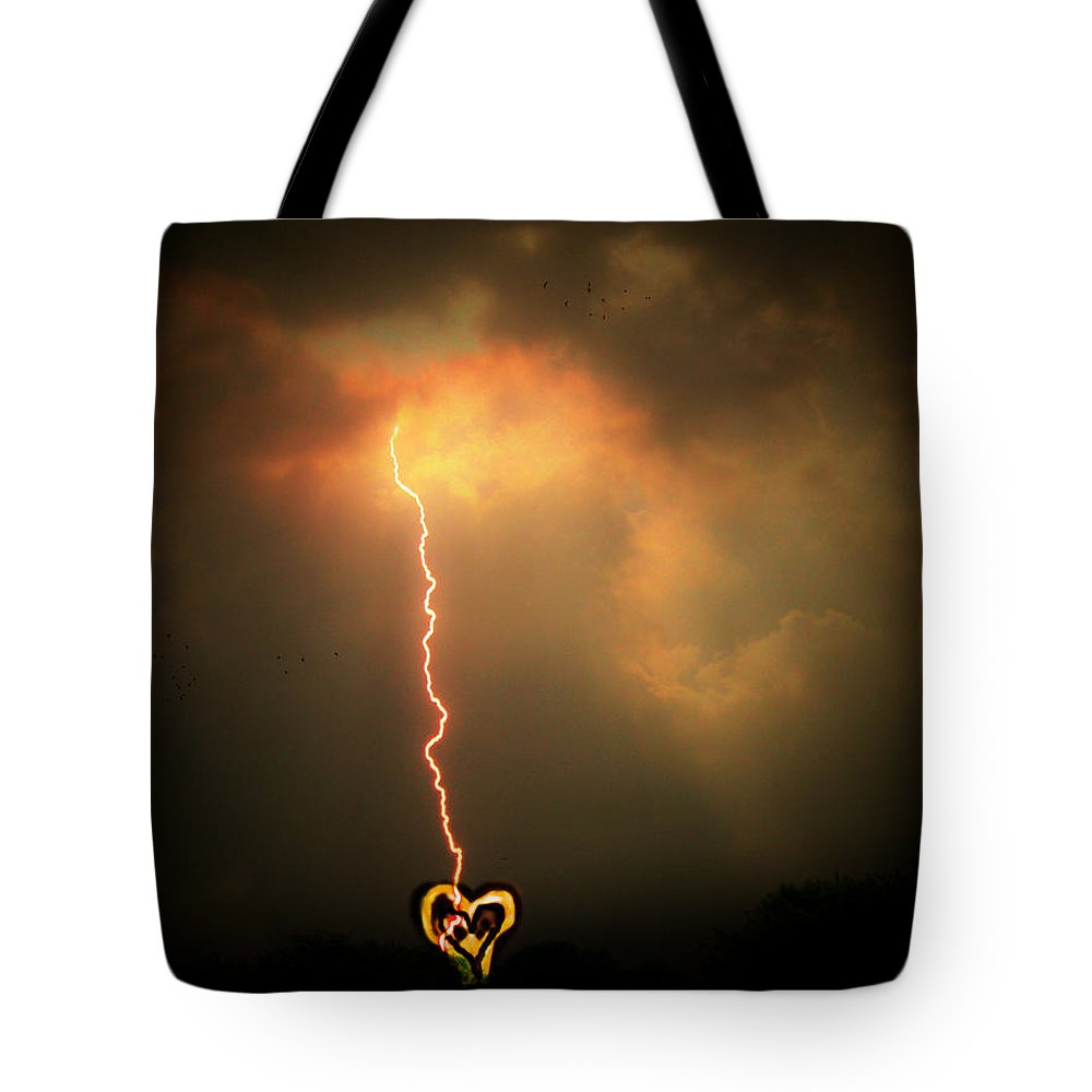 Lightning Tote Bag featuring the photograph Lightning Strikes The Heart by Trish Tritz
