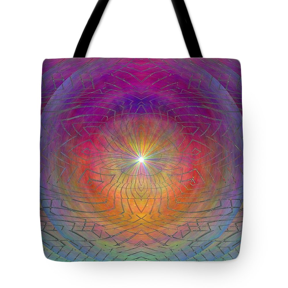 Abstract Tote Bag featuring the digital art Lightwave Geometrics by Tim Allen