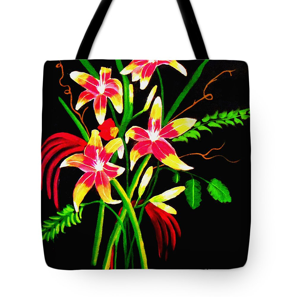 Lilies Tote Bag featuring the painting Lilies by Don Monahan