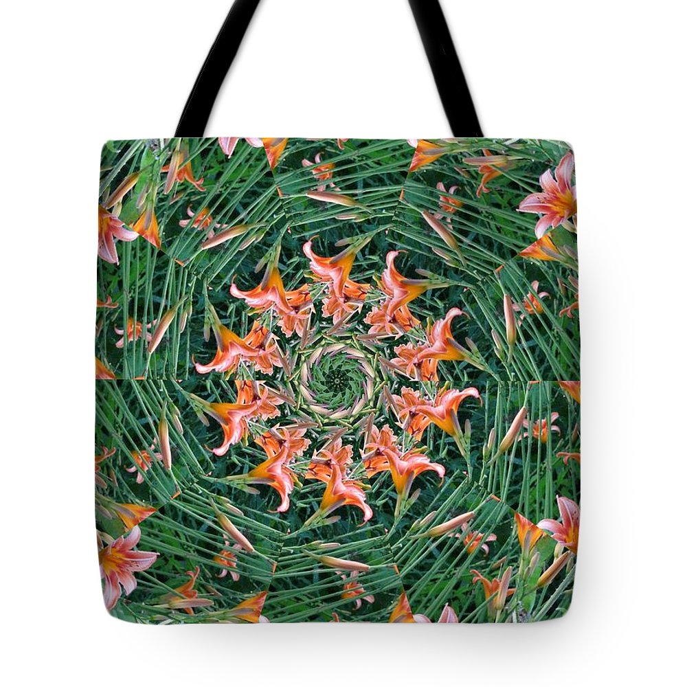 Flowers Tote Bag featuring the digital art Lilly In Abstract by Rhonda Barrett