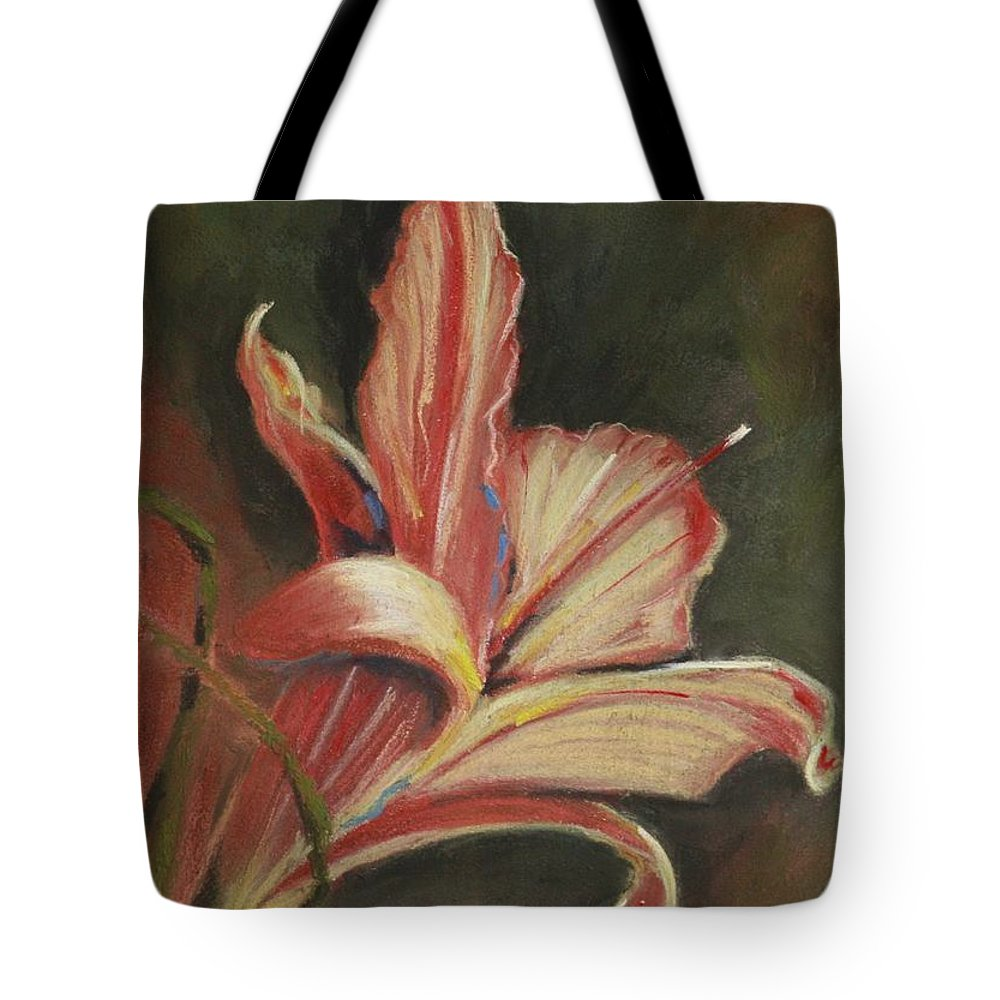 Lily Tote Bag featuring the pastel Lily by Kathleen Hartman