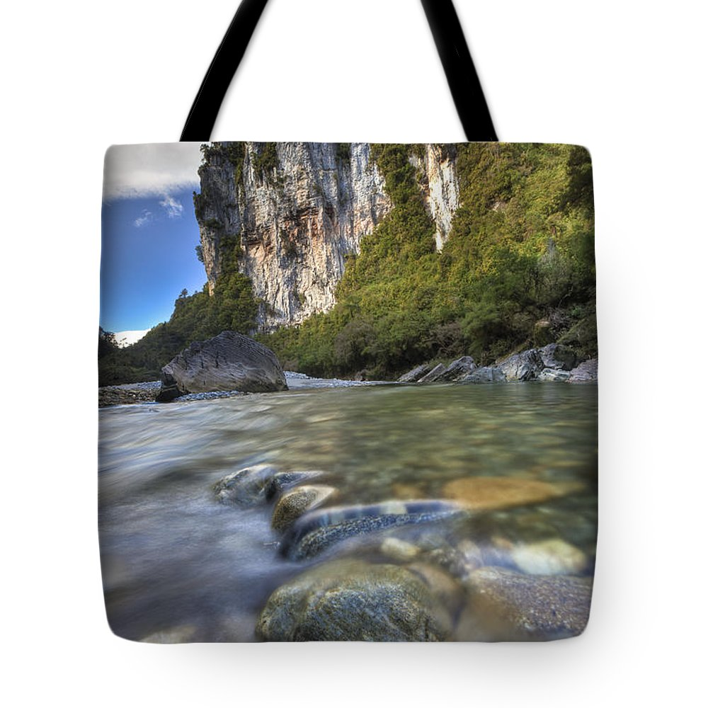 Hhh Tote Bag featuring the photograph Limestone Cliffs And Fox River, Paparoa by Colin Monteath