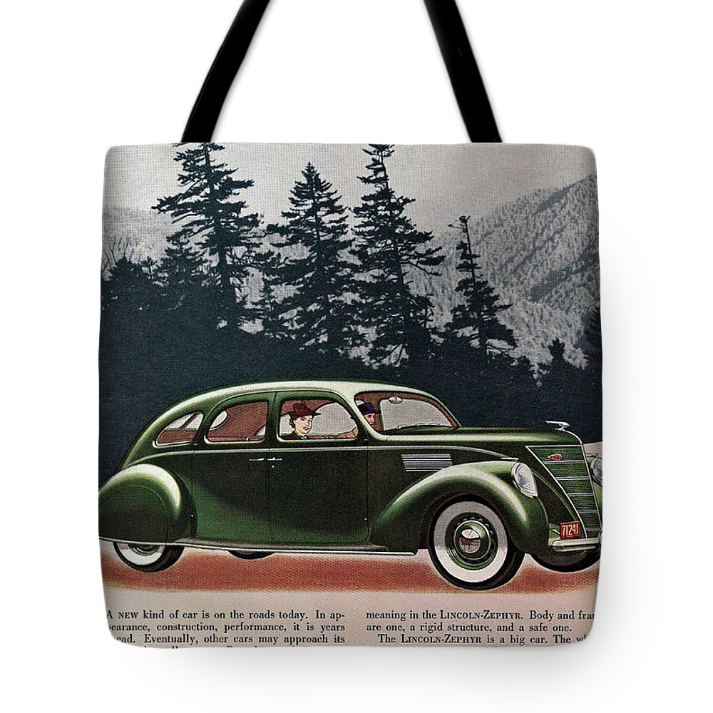 Lincoln Zephyr Tote Bag featuring the digital art Lincoln Zephyr 1936 by Georgia Fowler