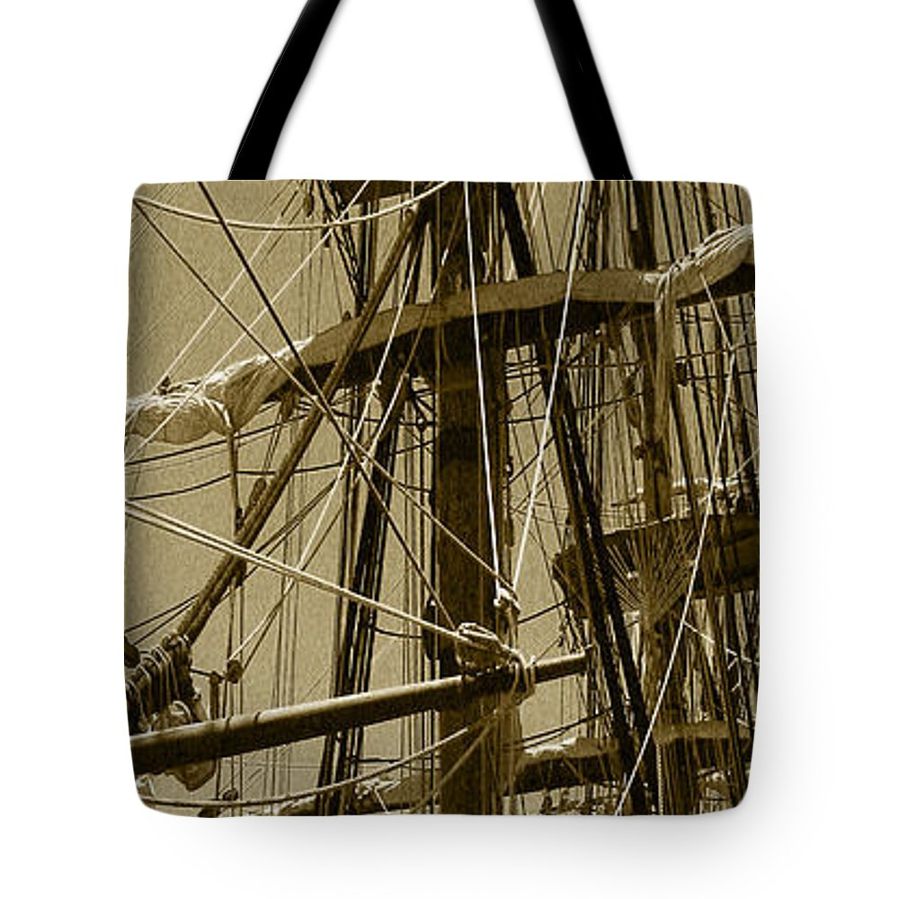 Brown Tote Bag featuring the photograph Lines by Peggy Starks