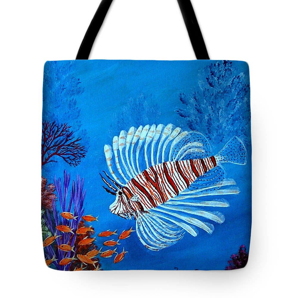 Lion Fish--underwater--marine Life Tote Bag featuring the painting Lion Fish by Fram Cama