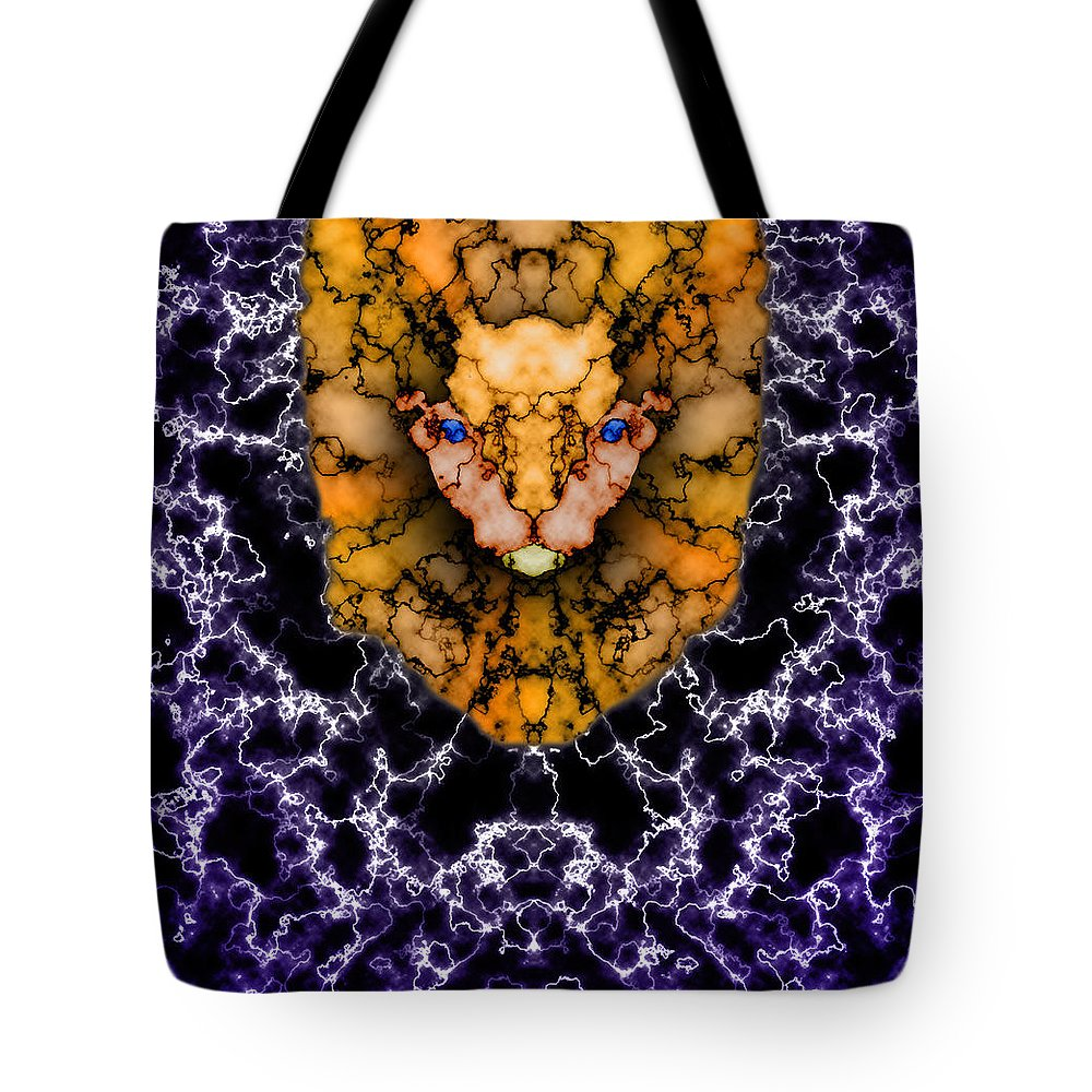 Lion Tote Bag featuring the painting Lion's Roar by Christopher Gaston