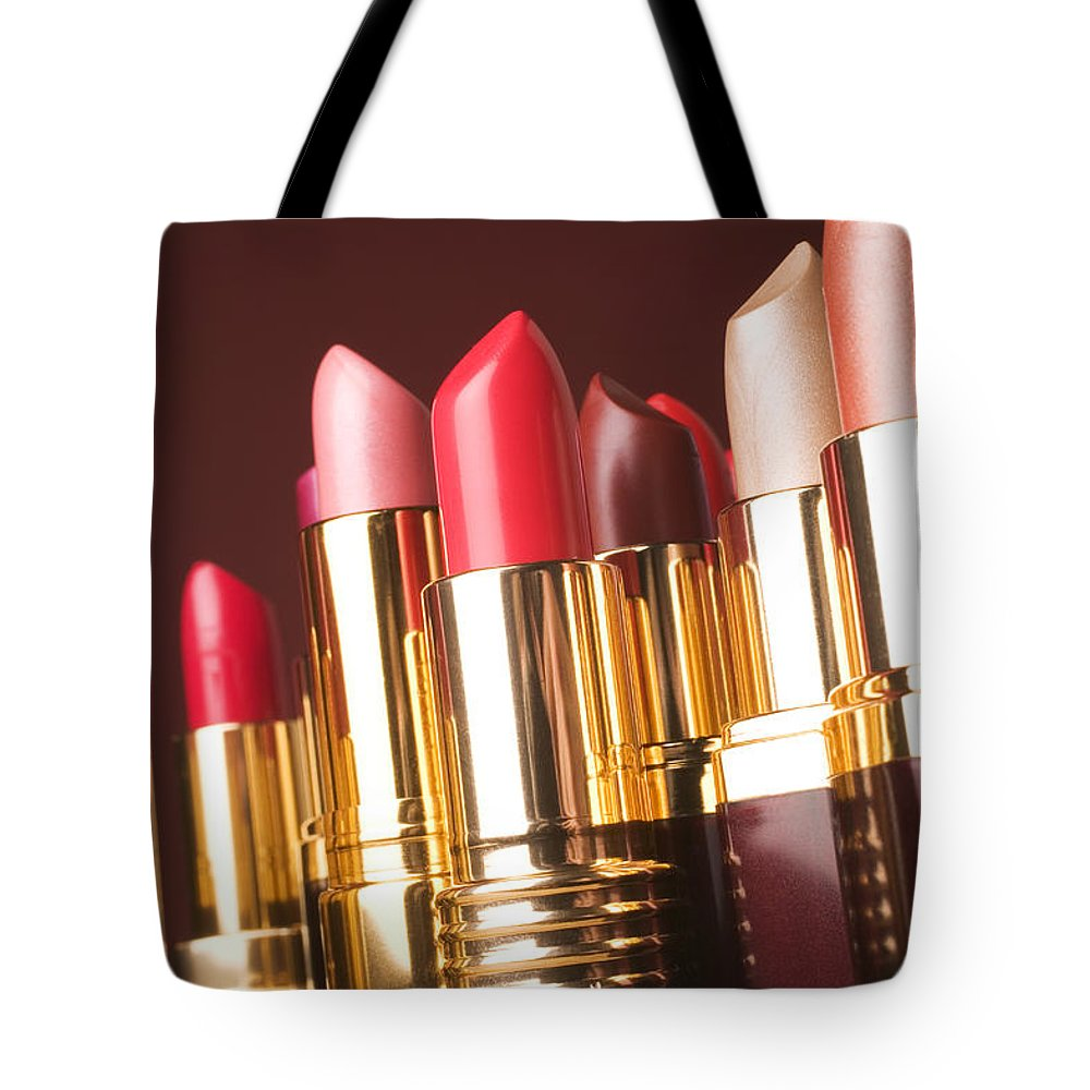 Lipstick Tote Bag featuring the photograph Lipstick Tubes by Garry Gay