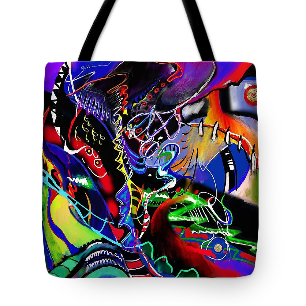 Prokofiev Tote Bag featuring the painting listening to Prokofiev violin concert no.1-Scherzo by Wolfgang Schweizer