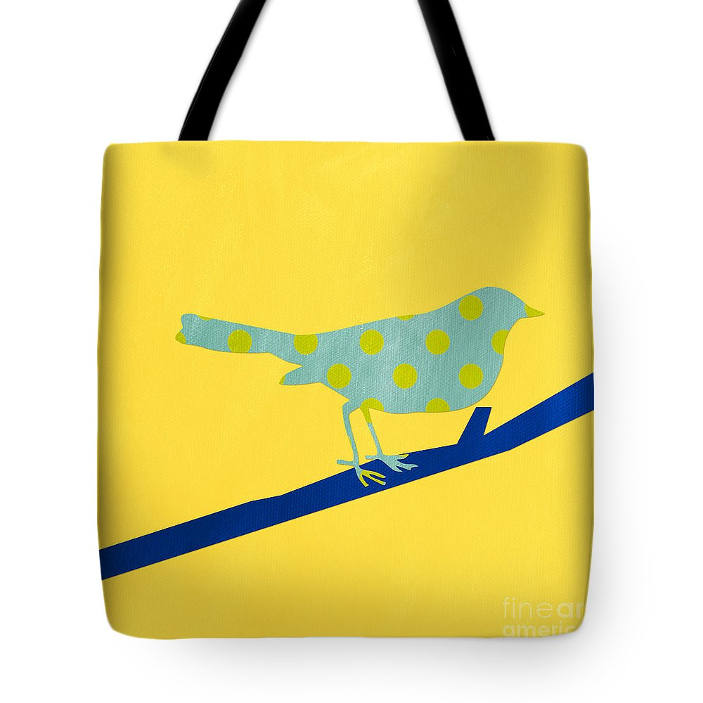 Bird Tote Bag featuring the mixed media Little Blue Bird by Linda Woods