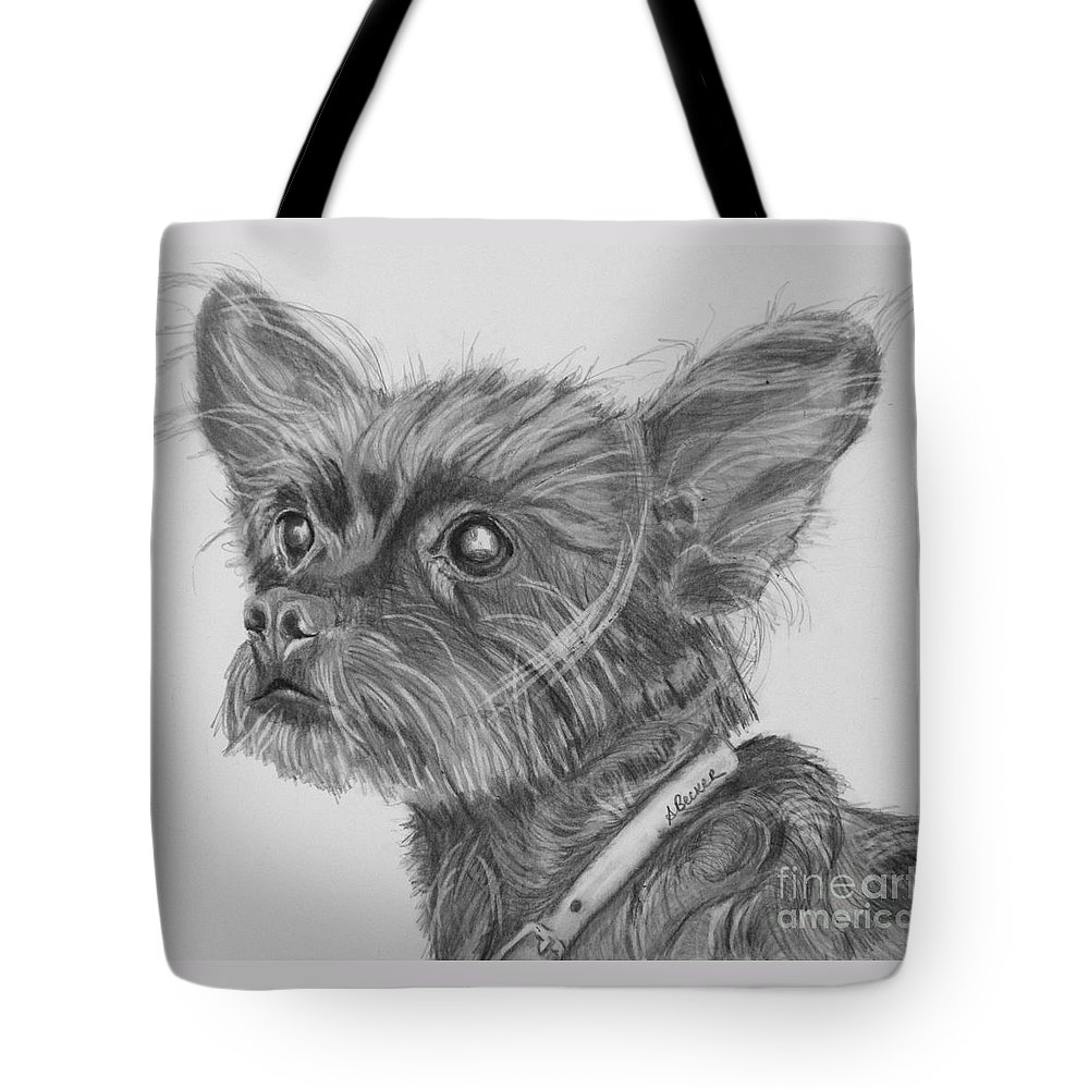 Dog Tote Bag featuring the drawing Little Heartbeat At My Feet by Susan A Becker