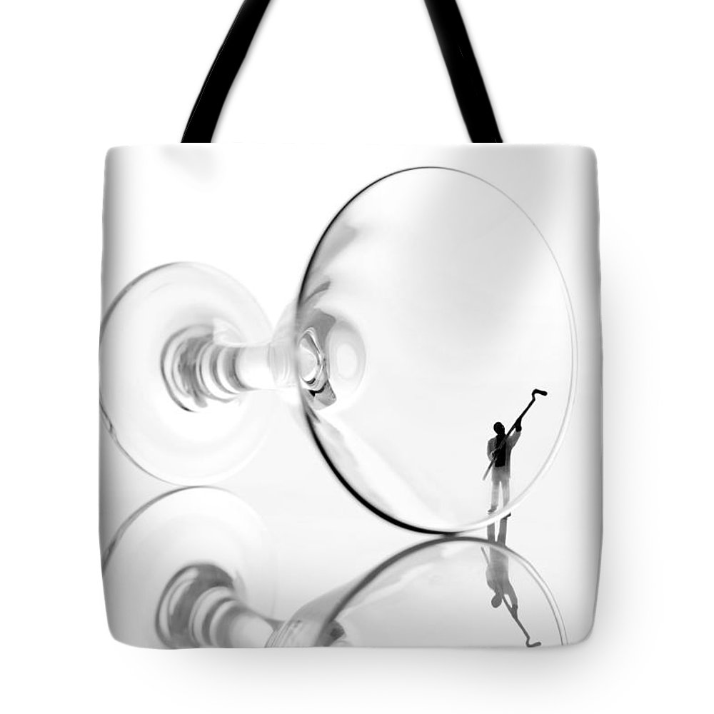 Black Tote Bag featuring the photograph Little People Cleaning Wine Cup by Paul Ge